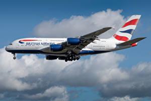 Картинка Airbus Самолеты Пассажирские Самолеты Сбоку British Airways Авиация