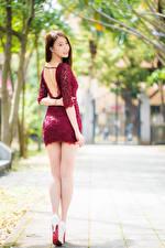 Фотография Азиатки Вид сзади Ног Платья Шатенки Красивая