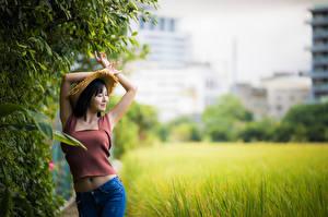 Фотографии Азиаты Боке Ветки Позирует Живота Майке Руки Шляпе Брюнеток Девушки