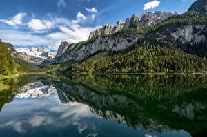 Картинки Австрия Гора Озеро Лес Отражении Дерево Альп Lake Gosau, Upper Austria Природа