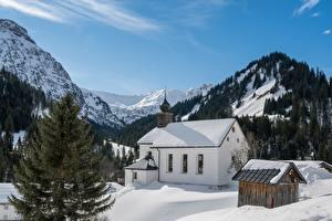 Фотографии Австрия Гора Зимние Церковь Альп Снега Bergdorf Baad Природа