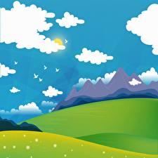Картинка Птица Гора Луга Векторная графика Солнца Облачно Природа