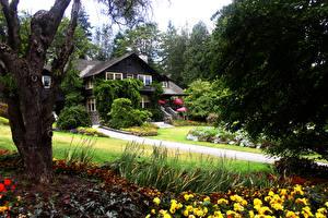 Фото Канада Парк Здания Ванкувер Деревья Кусты Stanley Park Природа
