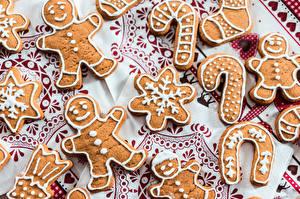 Фото Печенье Выпечка Новый год Снежинки Продукты питания