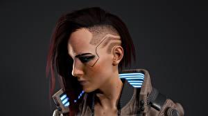 Фото Киберпанк 2077 Лицо Головы Прически Волосы Киборг Игры Девушки 3D_Графика