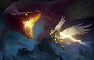 Обои для рабочего стола Дракон Ангелы Битва Оскал Фэнтези