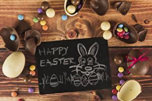 Картинка Пасха Кролик Сладкая еда Шоколад Конфеты Драже Доски Текст Английский Яйцами Пища