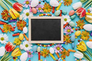 Картинка Пасха Тюльпан Хризантемы Шаблон поздравительной открытки Яйцо