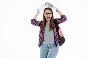 Фотографии Студентки Ноутбуки Белый фон Кричат Взгляд Очках Рубашка Джинсы