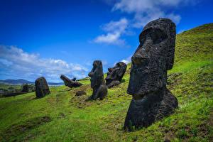 Фото Фигура Камни Чили Ranu Raraku, Easter Island Природа