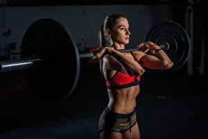 Картинки Фитнес Штанга Тренируется Руки спортивный