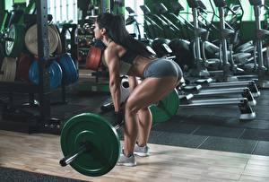Фотографии Фитнес Тренируется Спортзале Штанга Брюнетки Ягодицы Ног спортивный Девушки
