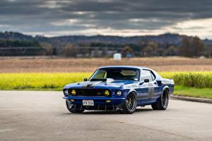Фотография Ford Металлик Синих Mustang, Mach 1, Muscle car, 1969 машины