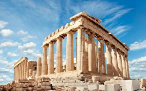 Обои для рабочего стола Греция Руины Небо Холм Облачно Колонны Acropolis, Parthenon, Athens город