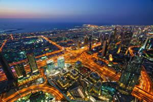 Фотография Здания Небоскребы Дубай Объединённые Арабские Эмираты Ночные Сверху Burj Khalifa город