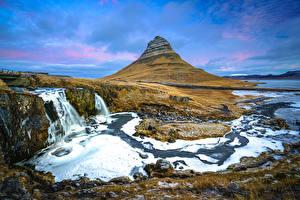 Фотография Исландия Водопады Горы Речка Kirkjufell Природа