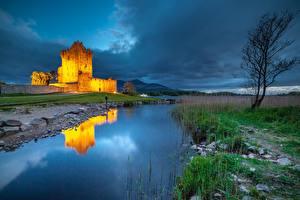 Фотографии Ирландия Озеро Замок Вечер Деревьев Отражение Ross Castle, Lough Leane Природа