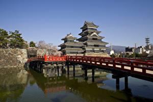 Фотографии Япония Мост Замок Nagano, Matsumoto Castle город