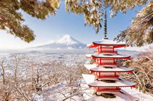 Фотографии Япония Зимние Фудзияма Пагоды Снега Природа