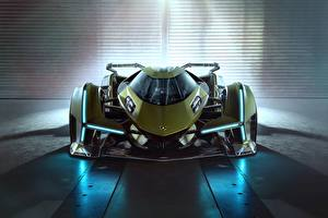 Картинка Ламборгини Спереди Зеленый Lambo, V12, Vision Gran Turismo, 2019 авто
