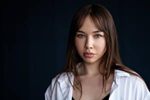 Фотографии Шатенки Смотрит Волос Лица Liza, Kirill Sokolov девушка
