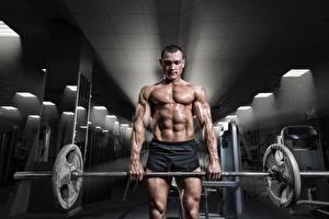 Фотографии Мужчина Тренируется Спортзале Мускулы Штангой спортивные