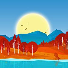 Картинка Гора Лес Осенние Птица Озеро Векторная графика Солнца Природа