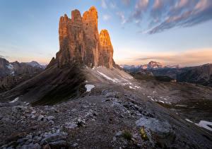 Фотографии Гора Камень Италия Утес Dolomites, Drei Zinnen