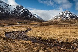 Обои для рабочего стола Гора Камень Шотландия Луга Ручеек Ben Nevis and Glencoe nature reserve Природа
