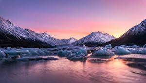 Картинки Новая Зеландия Рассвет и закат Озеро Льда Lake Tasman Природа