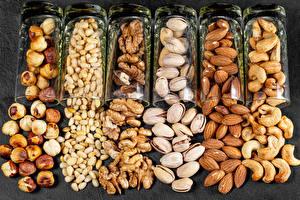 Фото Орехи Лесной орех Грецкий орех Миндаль Рюмки Пища