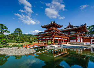 Фотография Пруд Небо Пагоды Храм Япония Kansai, Byodo-in, Uji Природа