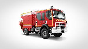 Обои для рабочего стола Рено Пожарный автомобиль Красная Сбоку Сером фоне 4x4, D14 авто