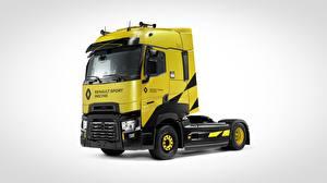 Обои для рабочего стола Рено Сером фоне Желтая T520, Renault Sport Racing авто