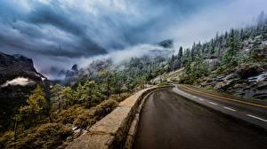 Картинка Дороги Гора Штаты Пейзаж Облачно Деревья Йосемити Туман Калифорния Sierra Nevada Природа
