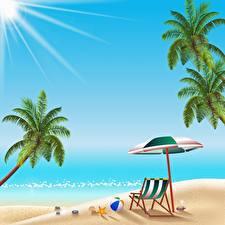 Фото Море Векторная графика Солнце Пальмы Пляжа Отдых Шезлонг Природа