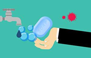 Обои Мыло Воде Векторная графика Цветной фон Рука Кран водопроводный VIRUS WASH HANDS! coronavirus