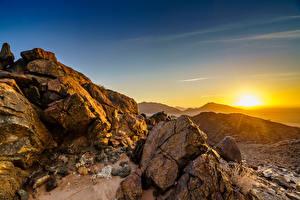 Картинки Камни Рассвет и закат Африка Скала Namib-Naukluft National Park, Namibia