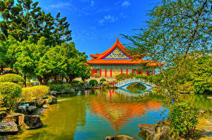 Фото Тайвань Парк Пруд Пагоды Мост HDR Деревья Chiang Kai-shek Memorial Taipei Природа