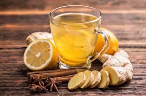 Картинки Чай Корица Лимоны Имбирь Чашке Еда
