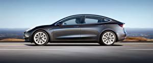 Картинки Тесла моторс Сбоку model 3 авто
