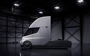 Фотография Грузовики Tesla Motors Сбоку Semi автомобиль