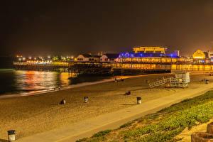 Картинка Штаты Берег Здания Пирсы Калифорнии Ночные Пляжа Redondo Beach