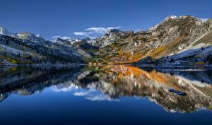 Фото Америка Гора Озеро Небо Калифорнии Отражение Sierra Nevada, Lake Sabrina Природа