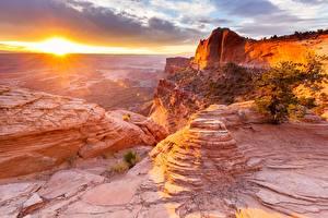 Фотографии Америка Рассветы и закаты Каньон Скале San Juan, Utah, Canyonsland National Park