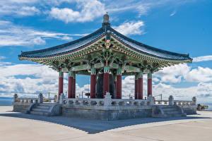 Фото Штаты Храм Пагоды Калифорнии Лестницы Korean Friendship Bell in San Pedro город