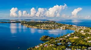 Фотографии Великобритания Здания Берег Залива Облачно Island in Harrington Sound Bermuda город