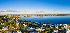 Картинки Великобритания Здания Залива Harrington Sound Bermuda город