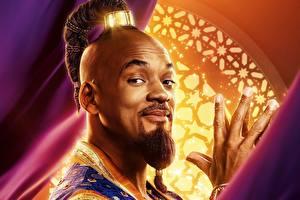 Картинки Will Smith Взгляд Борода Рука Голова Aladdin 2019 Фильмы Знаменитости
