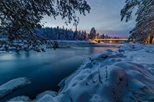 Картинки Зима Мосты Река Лес Финляндия Снег Oulu, North Ostrobothnia Природа